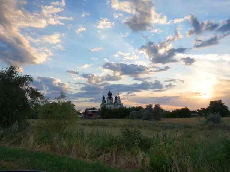 лето,церковь,вечер